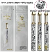 Kaliforniya Bal Tek Kullanımlık Vape Kalem Bakır Şarj Edilebilir 1 ML Atomizörler Arabaları Kalın Yağ Buharlaştırıcı 530mAh Kartuşları Ile Paketleme Çanta CQ Çıkartmalar E Sigara