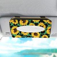 Tissue Boxes & Napkins Sunflower Printed Leather Car Box Holder Sun Visor Armrest Seat Back Sunroof Hanging Napkin Paper Storage Decoration