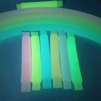 2.9CM M Size Luminous Glow in the Dark Fidget Poptube Twist Tubes Decompression Finger Toy Stretch Straw Plastic Pipes Fluorescent DIY Telescopic Vent Toys EE