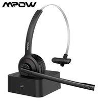 MPOW BH231 사무실 블루투스 헤드셋 충전 스탠드 독 소음 감소와 헤드 이어 피스 위로 무선 헤드폰 새로운 헤드폰