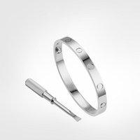 15-21 День святого Валентина браслет браслет женские мужчины 4cz титановые стальные винтовые браслеты золотые серебряные розовые украшения для любовника с бархатной сумкой