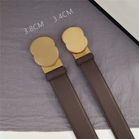 2021 Mens Womens Belt Fashion Lychee Pattern Belt per uomo Donne Lettere Fibbia Bronzo 3.8 cm 3.4 cm Larghezza 21060800V