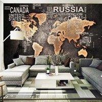 Wallpapers Mural Custom Wallpaper 3d Antique Map TV Background Wall Cafe Living Room Bedroom Retro World English Alphabet Bar KTV 0