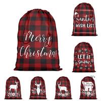 Geschenk Wrap Rot und Schwarz Plaid Heute Tasche mit Kordelzug Weihnachten Weihnachtsmann Sack Weihnachten Baumwolle Strümpfe Taschen Party Supplies GWB10745