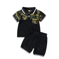 Summer boys POLO shirt camouflage print color matching T-shirt shorts kids suit Color block T-shirt + black shorts baby boy