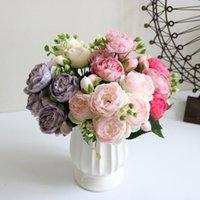 큰 머리 4 작은 꽃 봉 오리 30cm 장미 핑크 실크 모란 인공 꽃 꽃다발 가정 웨딩 장식 실내 장식 화환에 대 한 가짜