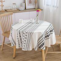 Настольная ткань 150см льняная хлопковая скатерть моющийся маленький круглый кофе украшения столовой этнический богемный геометрический