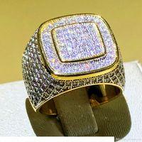 Роскошный хип-хоп Micro Pave CZ Stones All Out Out Bling Ring 925 Серебряные Позолоченные Кольца Хип-Хоп Для Мужчины Ювелирные Изделия Подарочная Вечеринка Размер 8-13
