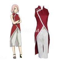 Anime Costume Haruno Sakura Cosplay Cheongsam For Girls Red Cheongsams Party Show Short Sleeves