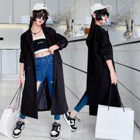 Coat Autumn Teen Girls Black Outerwear X-Long Blazer Jackets Cool Show Streetwear Kids Fashion Long Style Trench 5-14Years