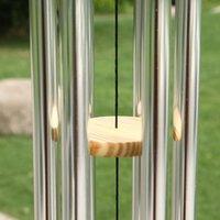 그레이스 깊은 공진 홈 골동품 금속 나무 6 튜브 윈치 체임 예배당 종소리 장식 수공예 선물 OOD6366