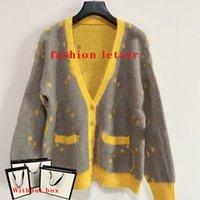 Женский свитер кардиган вязаные тройники топы мода классическая буква карманные V-образные вырезывания стилист стилист повседневная женская одежда свитера 5 стилей размер S-L