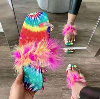 Summer Women Slippers Luxury Designer Fur Rhinestone Shoes Open Toe Furry Fluffy Slides Girls Flat Sandals Outdoor Flip Flops