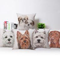 Cushion Decorative Pillow Shih Tzu Puppies Terrier Pug Cushion Cover Dog Animal Painting Pillowcase 45X45cm Sofa Chair Decoration