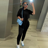 Women's Two Piece Pants 2021 Sexy Overlock One Shoulder Long Sleeve Sportswear Fashion 2 Sets Up Casual Top And Shorts Matching Set Fi