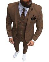 Men's Suits & Blazers Men 3 Pieces Slim Fit Casual Business Champagne Lapel Khaki Formal Tuxedos For Wedding Groomsmen (Blazer+Pants+Vest)