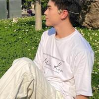 الرجال والنساء القمصان القطن مارتين روز العنق صغير توقيع فضفاضة قصيرة الأكمام مصمم أبيض وأسود