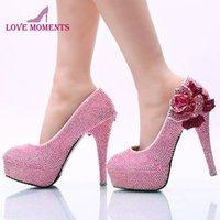 Плюс Размер 45 Женские Платье Обувь Розовый AB Цвет Цветок Горный Хрусталь Свадьба Ручной День Рождения Рождения Пром