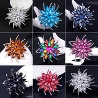 Assorted Colors Large Crystal Diamante Brooches Jewelry Vintage Style Rhinestone Flower Broach for Wedding Brooch Bouquet AE093