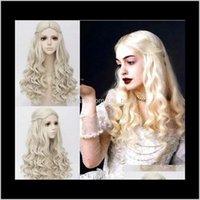 Synthetische Perücken Produkte Drop Lieferung 2021 ZF Alices Abenteuer im Wunderland 2 Die weiße Königin 60 cm lockige blonde Cosplay Haarperücke Kostüm Ba