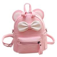 야외 가방 미니 여성 배낭 레이디 귀여운 PU 가죽 학교 신선한 활 동물 핑크 마우스 작은 아이들을위한 십대 가방