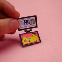 Lapel X-Files 카드 FBI 여우 에나멜 멀더 ID 핀 배지 만화 보석 브로치 핀