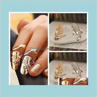 밴드 쥬얼리 10pcslot 절묘한 귀여운 복고풍 여왕 잠자리 디자인 라인 석 매화 뱀 Goldsier 링 손가락 네일 반지 드롭 배달