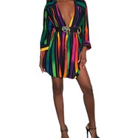 Designer Shirt Dresses Fashion Rainbow Colors Striped Womens Printed Summer Dress Long Sleeve Plus Size Women Clothing Q2Y1
