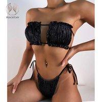 Women's Swimwear Peachtan Sexy Bandeau Bikini 2021 Velvet Female String Folds 2 Piece Set Print Swimsuit Women Bathing Suit Swim