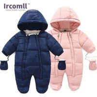 Ircomll الدافئة الرضع الطفل بذلة القطن أسفل السروال القصير مقنعين داخل الصوف صبي فتاة الشتاء الخريف وزرة الأطفال قميص 210907