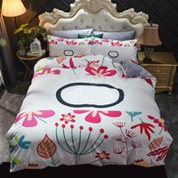Soft Bedding Sets Four Piece Letter Printed Warm Plush Bedclothes Twin Double Size Quilt Cover Pillowcase