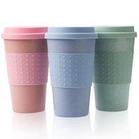 Tasse d'eau de boisson en paille de thé de café à café écologique Tasse de boisson avec couvercle en silicone boire tasses d'enfants Coupe d'enfants Cadeau GWA5319