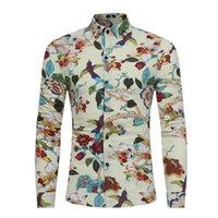 Camisas casuales para hombres 2021 Primavera otoño vestido de lino lujo floral animal impresión elegante manga larga hawaii camisa hombres camisas xxxl