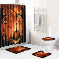 WUJIE Holloween Waterproof Shower Curtain Set Pedestal Rug Toilet Seat Cover Anti Slip Bath Mat Pumpkin Printed Bathroom Decor H0910
