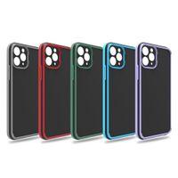 듀얼 컬러 카메라 렌즈 보호자 휴대 전화 케이스 아이폰 12 11 프로 최대 미니 XS x 8 7 6 플러스 하이브리드 TPU PC 하드 안티 지문 핸드폰 커버