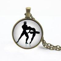 Chains Ballet Dancer Couples Charm Jewelry Dancers Chain Necklace Cabochon Glass Pendant Souvenir Gifts