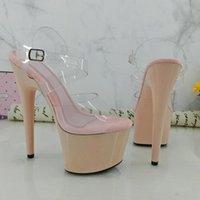 Leecabe 17 cm / 7inch beige tacchi beige fantasia polo danza signora scarpa tacco alto piattaforma scarpe sandali