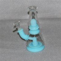 Glow in the dark Silicone Bong Pipes Silicon Oil Rigs Shisha Hookah Smoking Water Tobacco Herb Pipe with quartz banger bowl