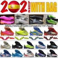 حقيبة هدية أحذية رجالي X Ghosted.1 FG AG Laceless Cleats Cleats في الهواء الطلق الجلود الناعمة طبقة الجوارب أحذية كرة القدم تصفيح الأحذية الوحيدة المزيد من الألوان حجم US6.5-11.5