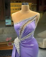 Designer Lilac Prom Dresses Sexy Sheer Luxury Beads Appliqued Formal Evening Dress Gorgeous Satin Long Party Wear Robe de mariée