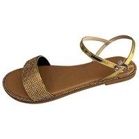 Sandals Women Summer Dressy Strappy Rhinestone Slipper Shoes Beach Flat Slippers Outside Slides Shining Crystal Ladies