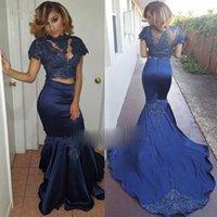 Navy Blue 2 Two Piece Prom Dresses Largos Appliques Lace 2021 Black Girl Evening Gowns Vestidos De Festa