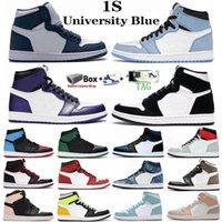 نيو بيو هاك الملكي تو جرين باين 1S الرجال النساء أحذية كرة السلة المحكمة بيربل حجر السج 1 UNC التعادل صبغ الحظ الأخضر احذية رياضية