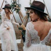 Sheer Long Sleeves A Line Wedding Gowns 2021 Sexy V Neck Top Lace Backless Boho Beach Bridal Party Dresses