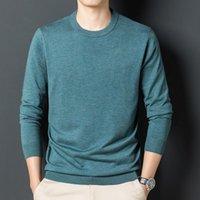 Мужские свитера 2021 шелковые шерстяные трикотажные одежды весна осень с длинным рукавом джемпер мужчина сплошной цвет O-шеи вязать футболки пуловеры