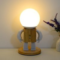 Table Lamps LED Kawaii Spaceman Robot Figure Ambient Mood Desk Lamp USB Wood Living Room Bedroom Bedside Decorative Night Light