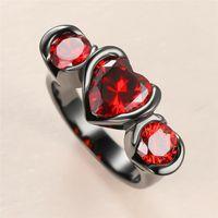 Роскошное женское любовное сердце хрустальное кольцо классические 14kt черные золотые обручальные кольца для женщин шарм невеста красный вовлечение Zircon