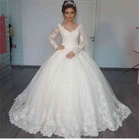 Wedding Dress Gorgeous Ball Gown Wedding Dresses 2019 Puffy Lace Beaded Applique White Long Sleeve Vestido De Noiva
