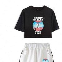 해리 스타일 괜 찮 아 요 선원 두 조각 여름 섹시한 면화 인쇄 티셔츠 여자 정장 반바지 작물 패션 탑