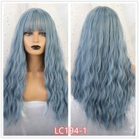Le parrucche sintetiche blu dell'onda lunga con le parrucche dei cosplay della frangia per le donne bianche nere 8 colori resistenti al calore capelli falsi resistenti al calore
